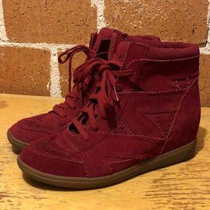 Red suede cutout hightop sneakers SKCH+3